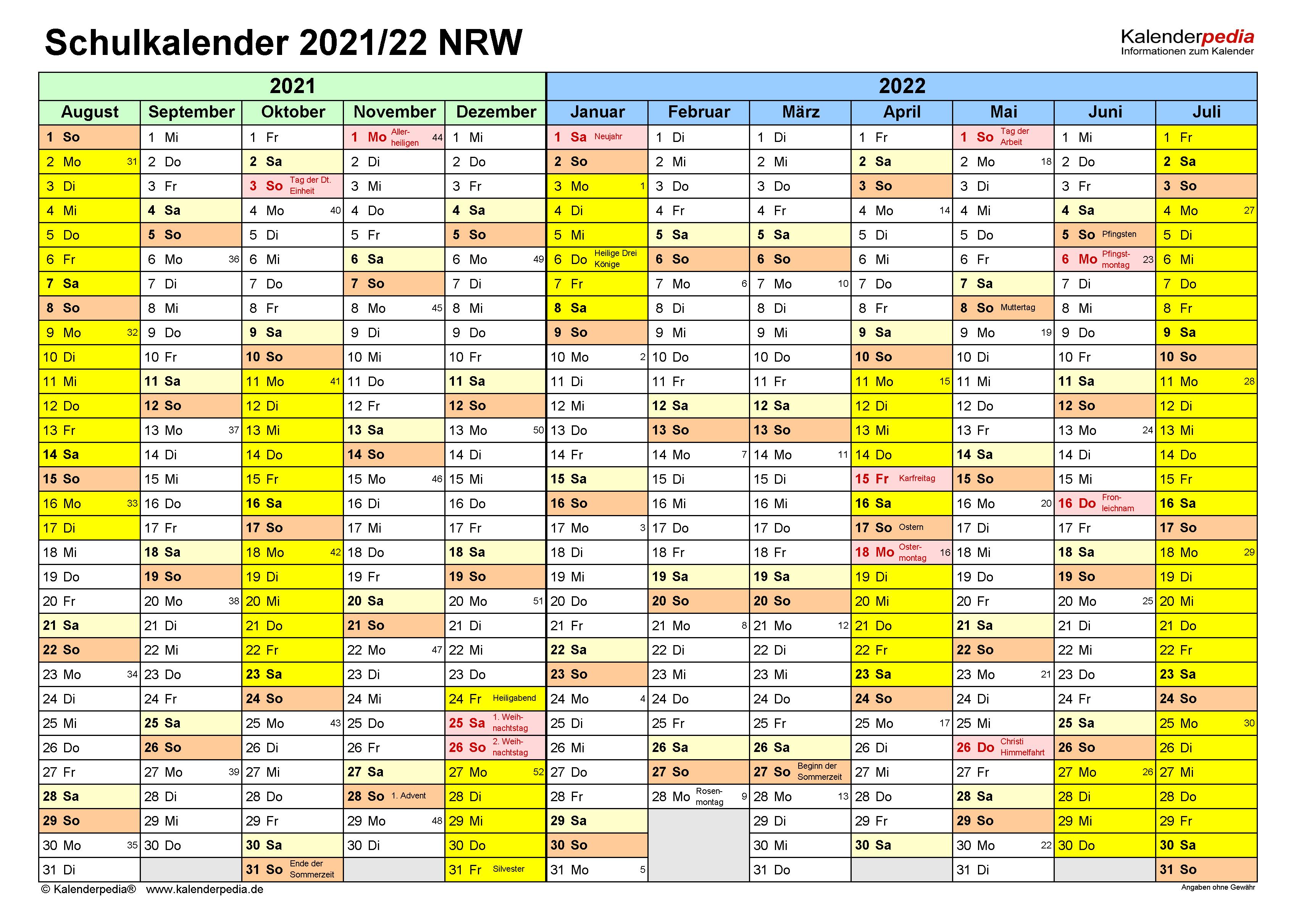 Schulkalender 2021/2022 NRW für PDF