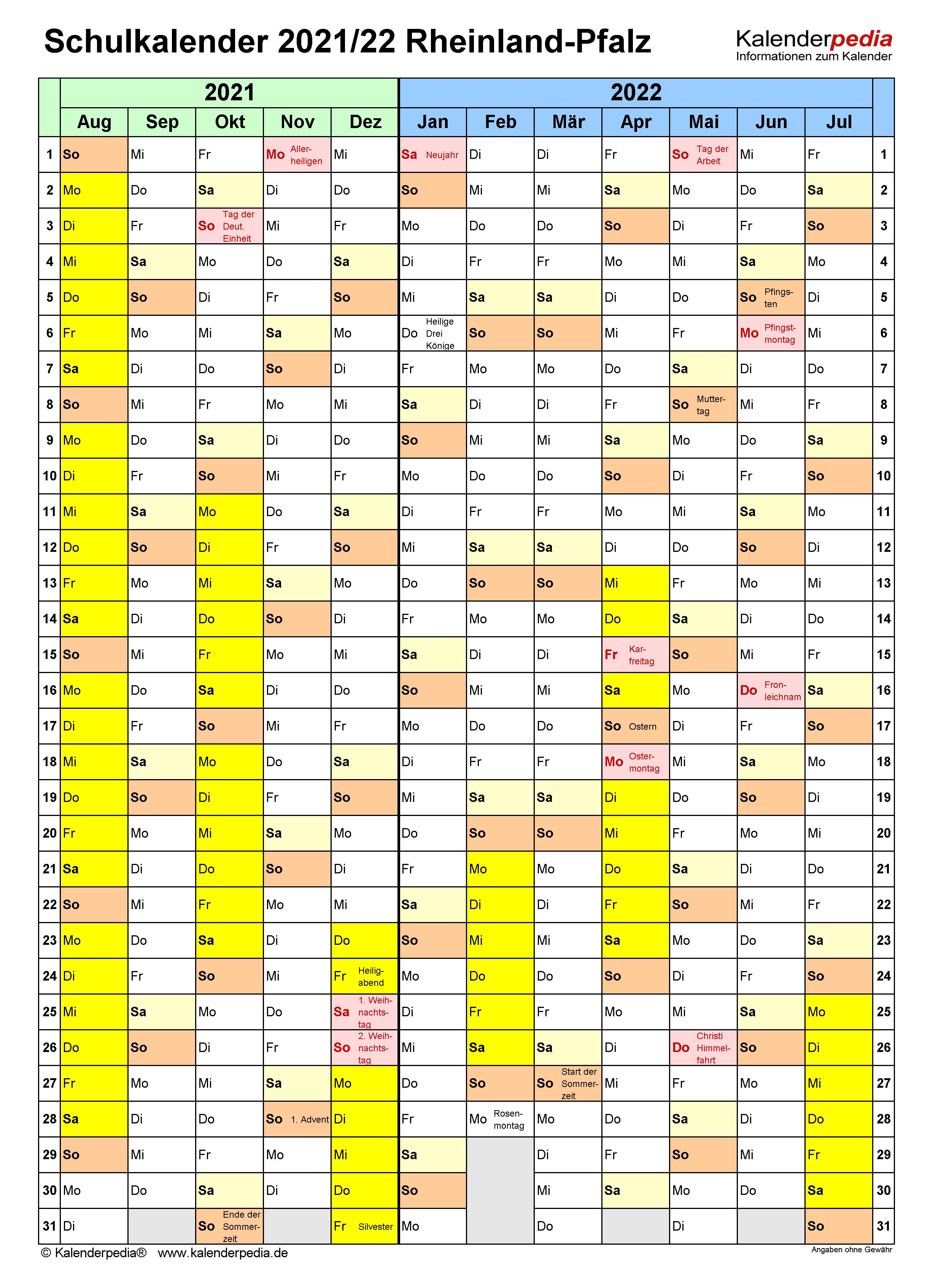 Schulkalender 2021/2022 Rheinland-Pfalz für Word