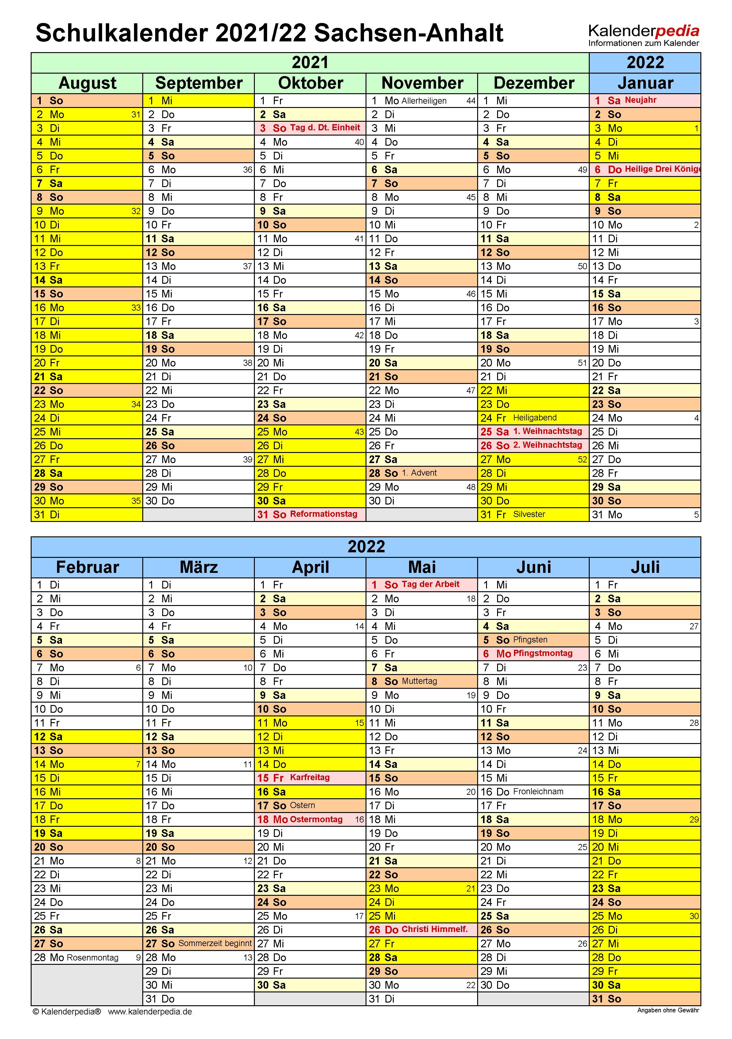 Schulkalender 2021/2022 Sachsen-Anhalt für Word