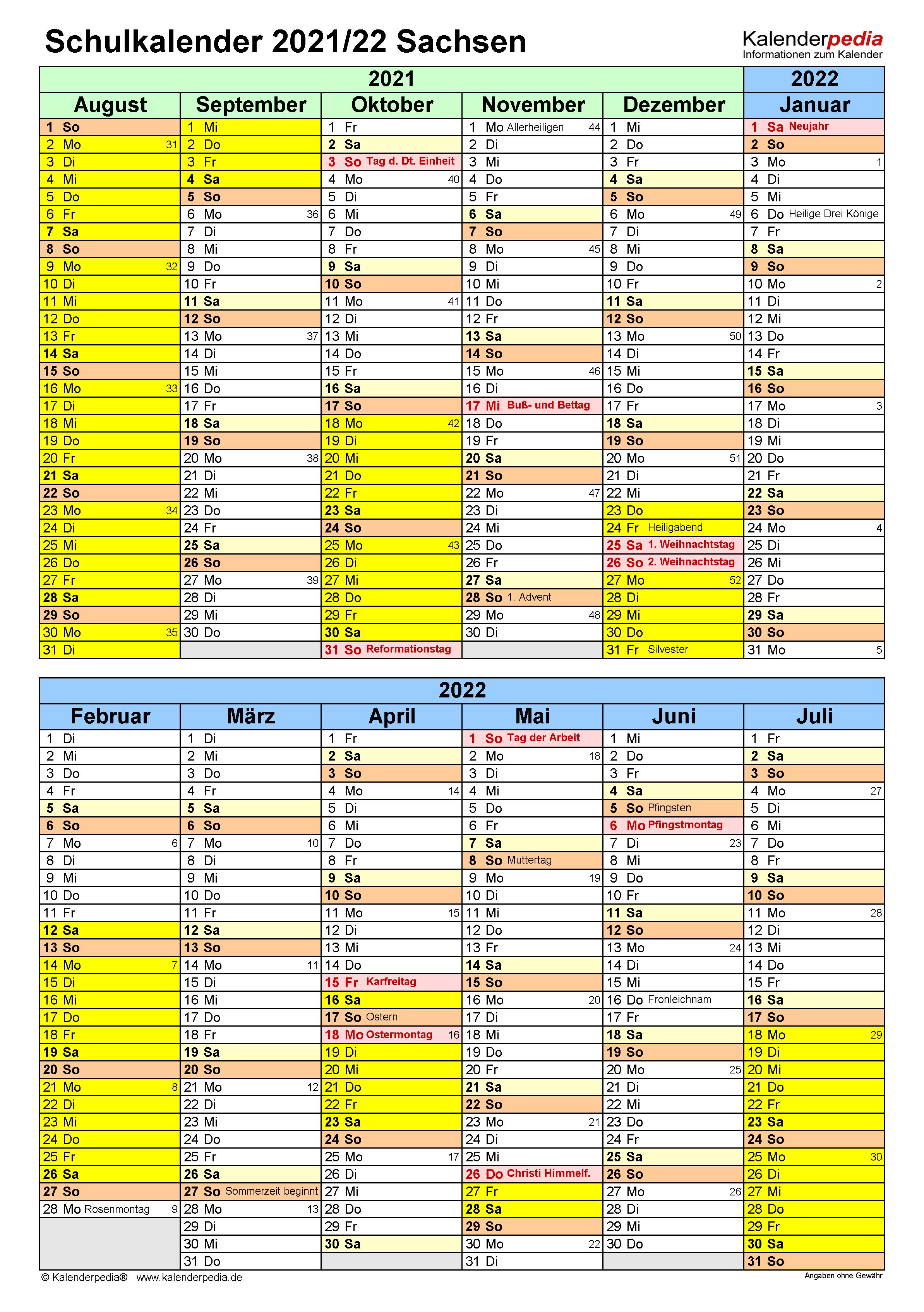 Schulkalender 2021/2022 Sachsen für Word