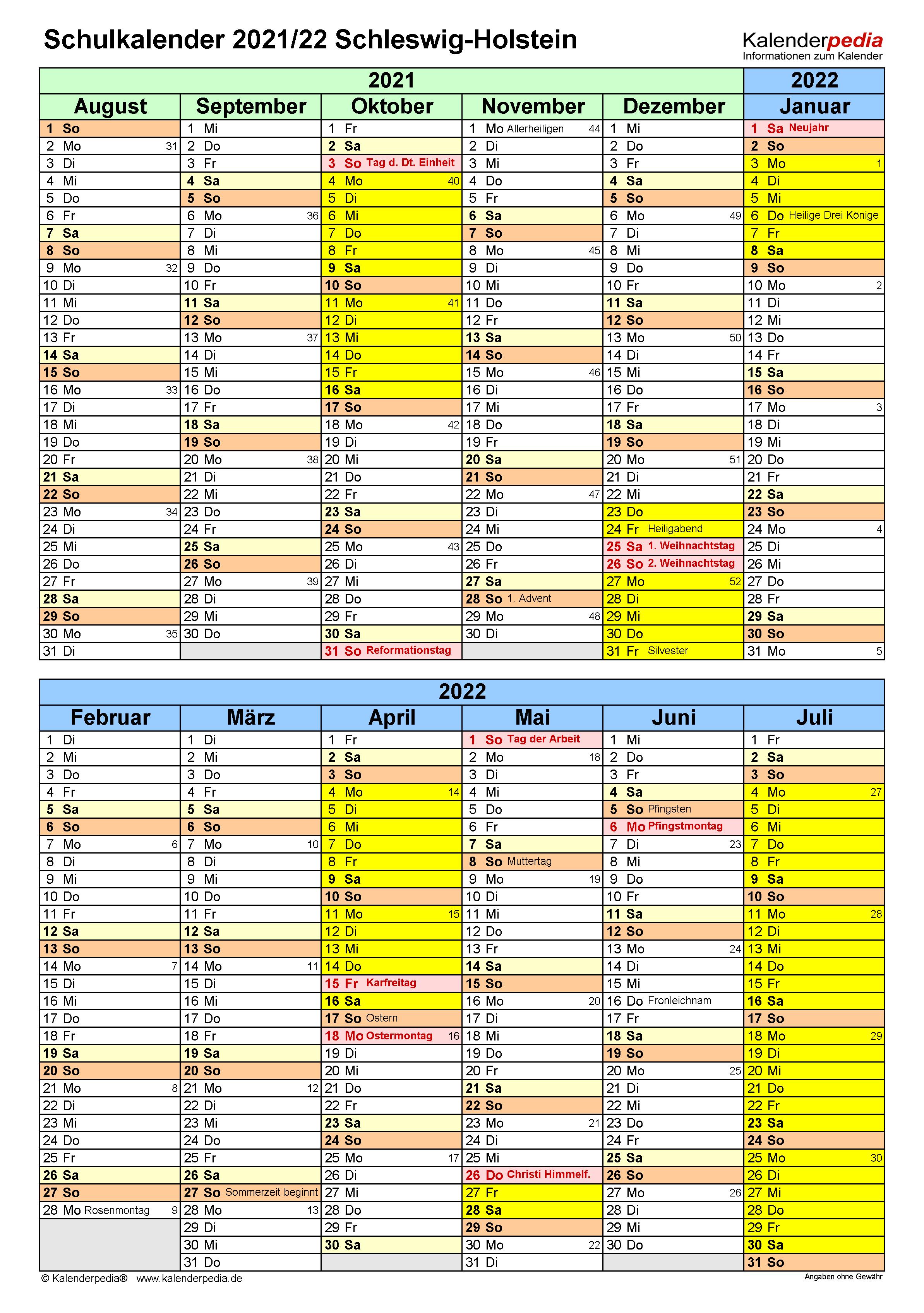 Schulkalender 2021/2022 Schleswig-Holstein für Excel