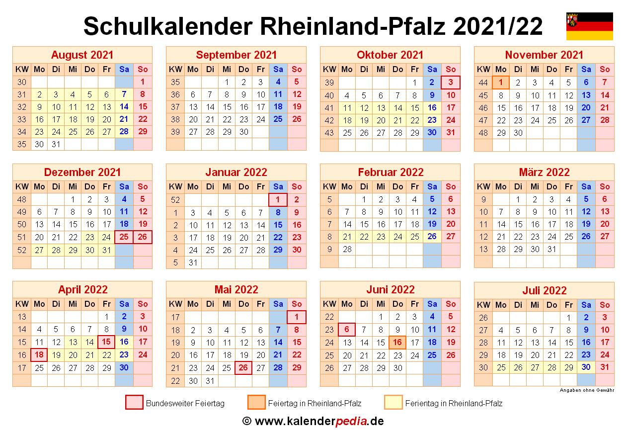 Schulkalender 2021/2022 Rheinland-Pfalz für PDF