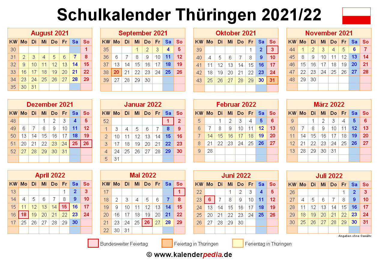 Weihnachtsferien Thüringen 2021