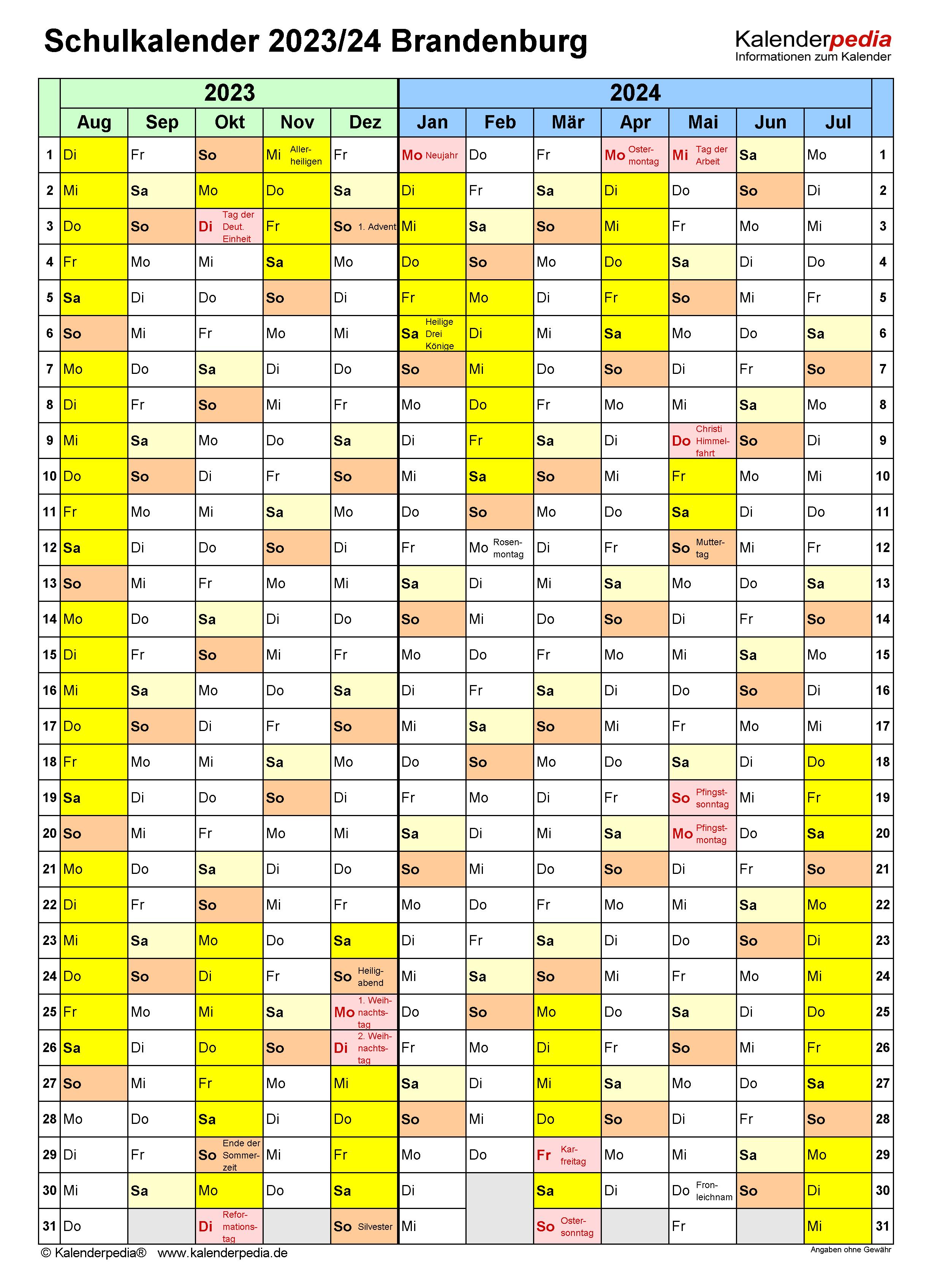 Schulkalender 2023/2024 Brandenburg für Word