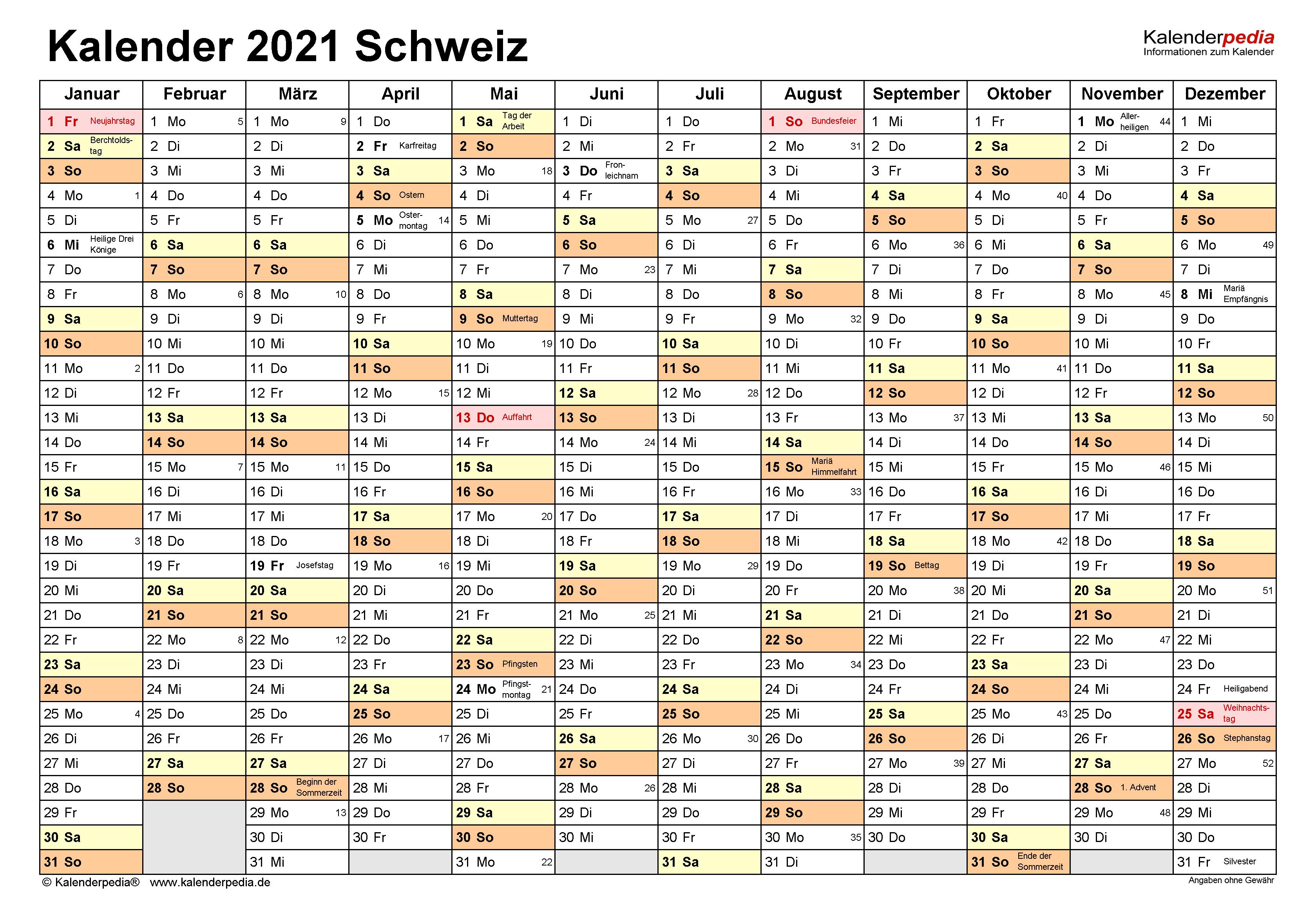 Kalender 2021 Schweiz für Word zum Ausdrucken