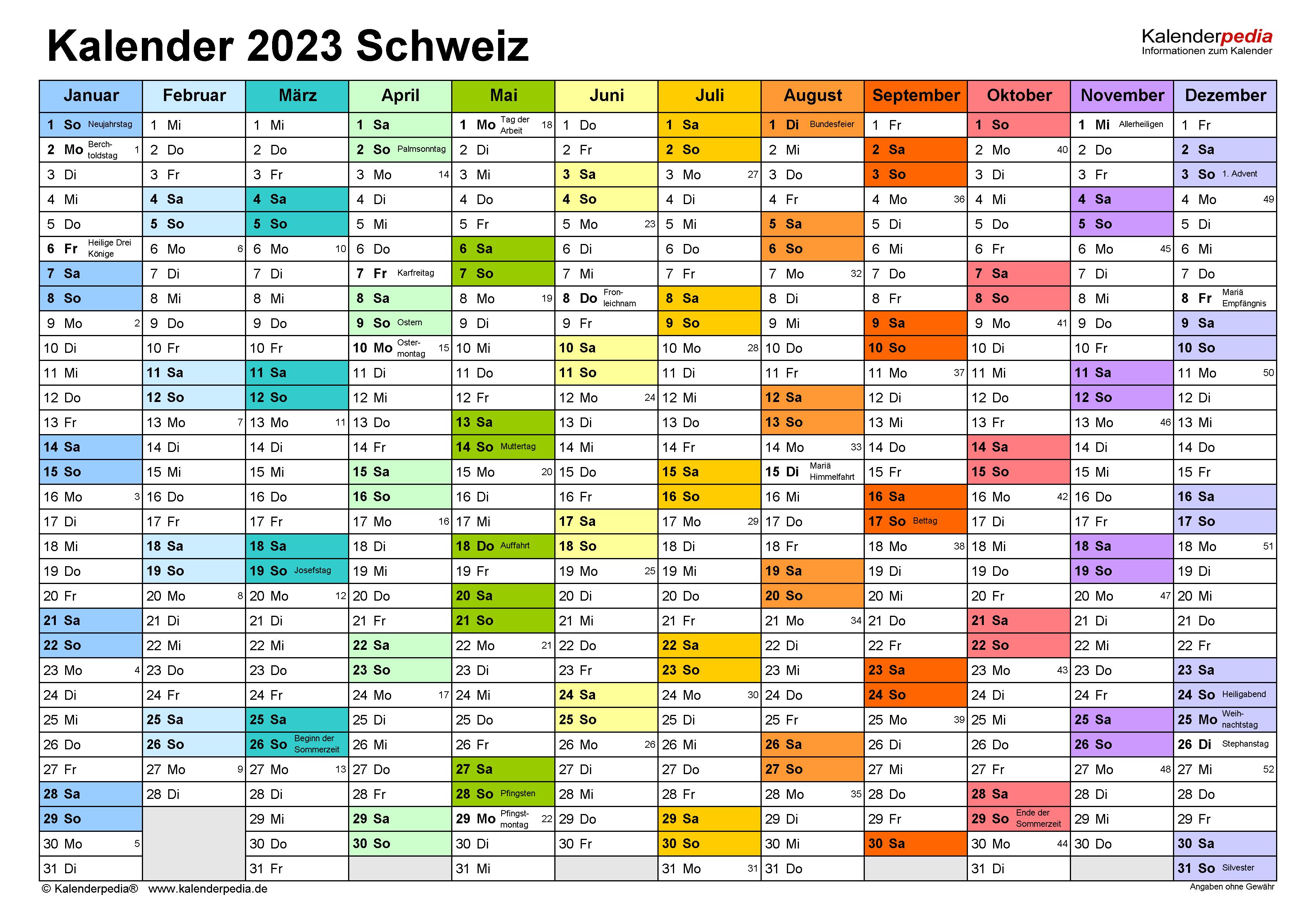 Kalender 2023 Schweiz zum Ausdrucken als PDF
