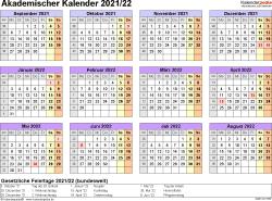 Vorlage 4: Akademischer Jahreskalender 2021/2022 im Querformat, Jahresübersicht