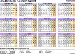 Vorlage 4: Akademischer Jahreskalender 2022/2023 im Querformat, Jahresübersicht
