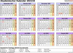 Vorlage 4: Akademischer Jahreskalender 2023/2024 im Querformat, Jahresübersicht