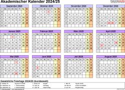 Vorlage 4: Akademischer Jahreskalender 2024/2025 im Querformat, Jahresübersicht