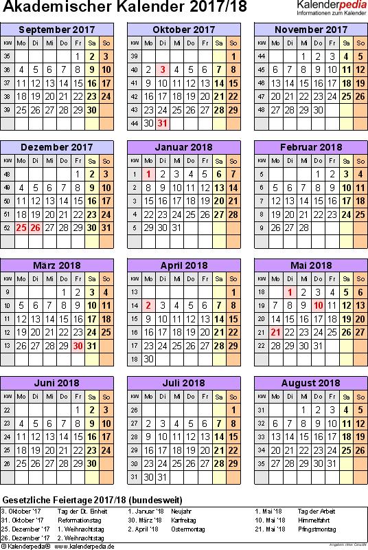 Vorlage 6: Akademischer Jahreskalender 2017/2018 im Hochformat, Jahresübersicht