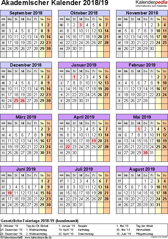 Vorlage 5: Akademischer Jahreskalender 2018/2019 im Hochformat, Jahresübersicht
