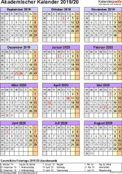 Vorlage 7: Akademischer Jahreskalender 2019/2020 im Hochformat, Jahresübersicht
