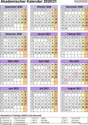 Vorlage 5: Akademischer Jahreskalender 2020/2021 im Hochformat, Jahresübersicht