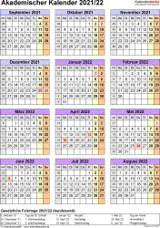 Vorlage 7: Akademischer Jahreskalender 2021/2022 im Hochformat, Jahresübersicht