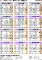 Vorlage 7: Akademischer Jahreskalender 2023/2024 im Hochformat, Jahresübersicht