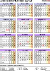 Vorlage 7: Akademischer Jahreskalender 2024/2025 im Hochformat, Jahresübersicht