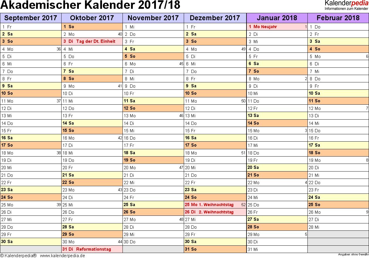 Vorlage 2: Akademischer Jahreskalender 2017/2018 im Querformat