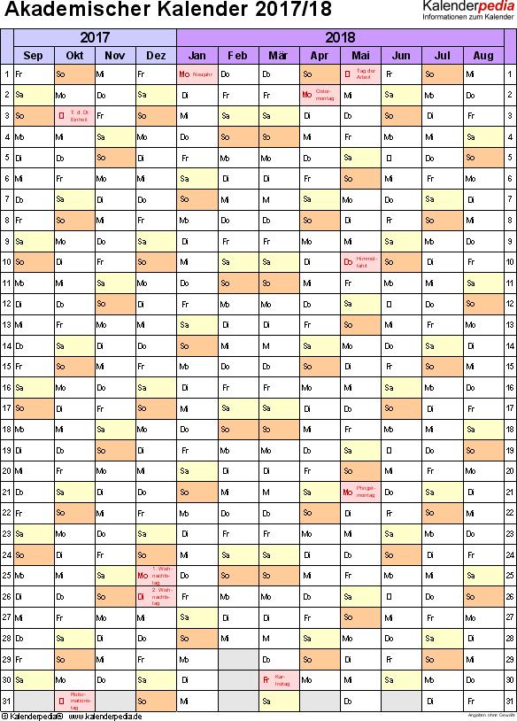 Vorlage 5: Akademischer Jahreskalender 2017/2018 im Hochformat, 1 Seite