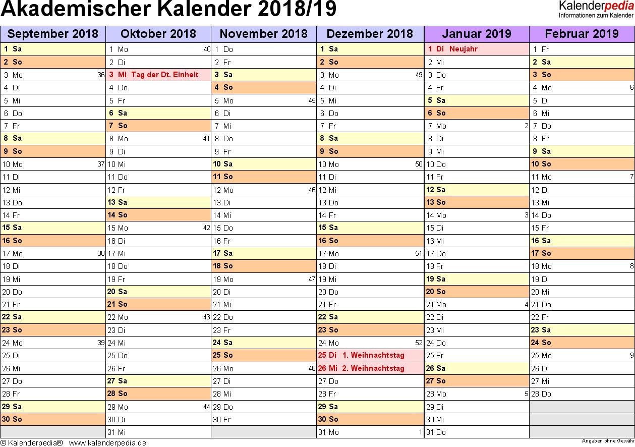 Vorlage 3: Akademischer Jahreskalender 2018/2019 im Querformat