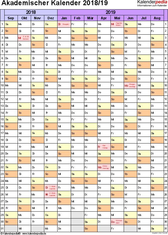 Vorlage 6: Akademischer Jahreskalender 2018/2019 im Hochformat, 1 Seite