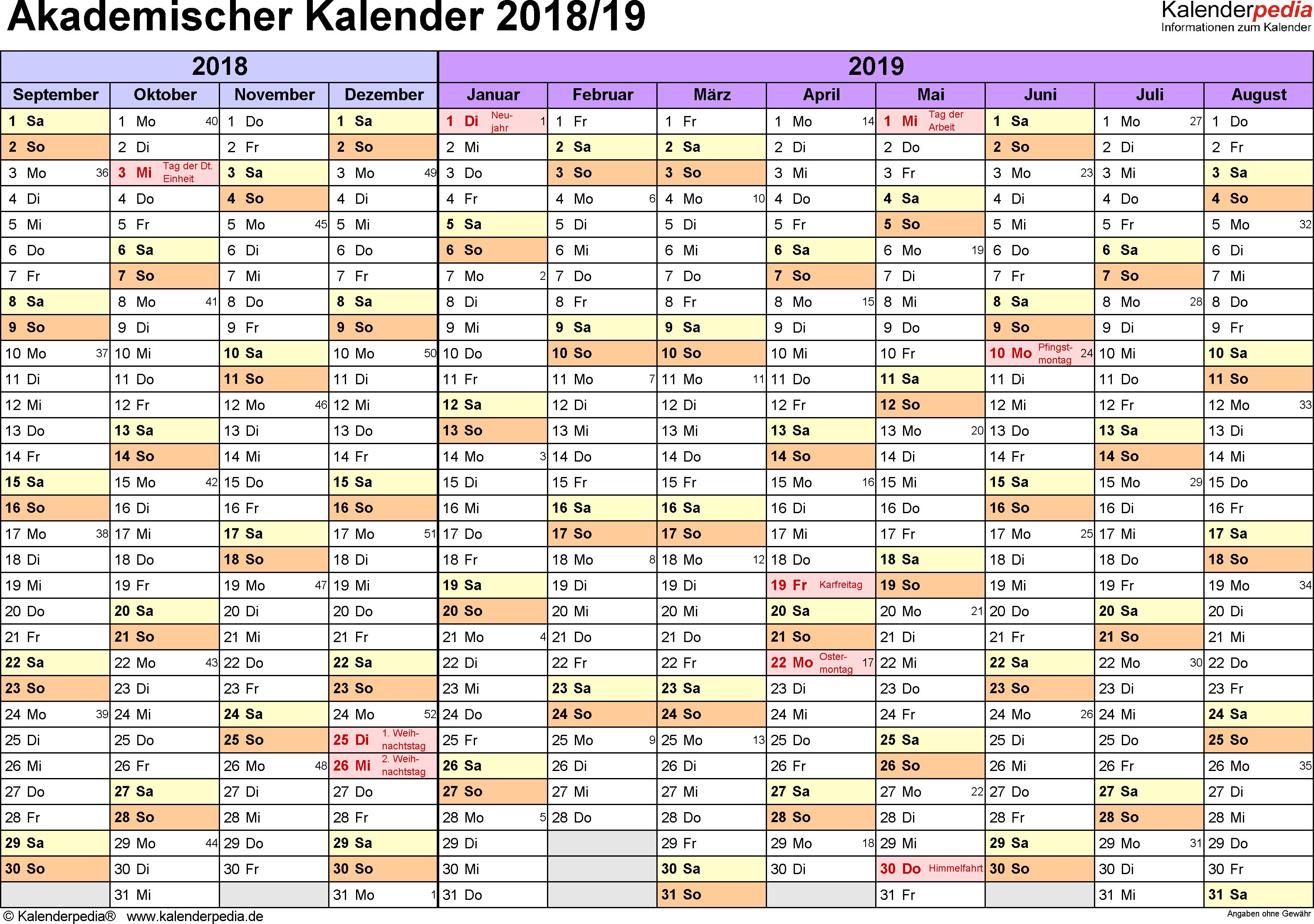 Vorlage 1: Akademischer Jahreskalender 2018/2019 im Querformat