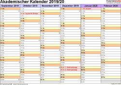 Vorlage 2: Akademischer Jahreskalender 2019/2020 im Querformat
