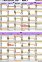 Vorlage 5: Akademischer Kalender 2019/2020 im Hochformat, 1 Seite, unterteilt in 6-Monats-Blöcke