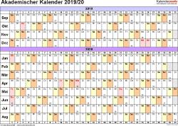 Vorlage 3: Akademischer Jahreskalender 2019/2020 im Querformat