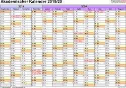 Vorlage 1: Akademischer Jahreskalender 2019/2020 im Querformat