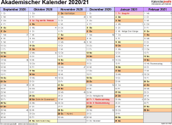 Vorlage 3: Akademischer Jahreskalender 2020/2021 im Querformat