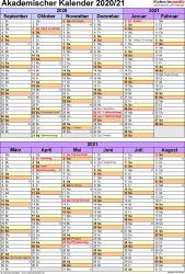 Vorlage 5: Akademischer Kalender 2020/2021 im Hochformat, 1 Seite, unterteilt in 6-Monats-Blöcke