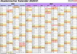 Vorlage 1: Akademischer Jahreskalender 2020/2021 im Querformat