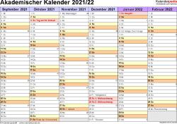 Vorlage 3: Akademischer Jahreskalender 2021/2022 im Querformat