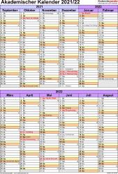 Vorlage 5: Akademischer Kalender 2021/2022 im Hochformat, 1 Seite, unterteilt in 6-Monats-Blöcke
