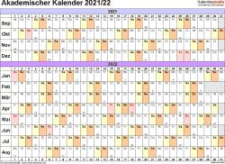 Vorlage 2: Akademischer Jahreskalender 2021/2022 im Querformat
