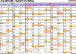 Vorlage 1: Akademischer Jahreskalender 2021/2022 im Querformat