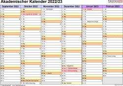 Vorlage 2: Akademischer Jahreskalender 2022/2023 im Querformat