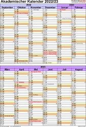 Vorlage 5: Akademischer Kalender 2022/2023 im Hochformat, 1 Seite, nach Jahreshälften untergliedert