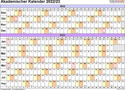 Vorlage 3: Akademischer Jahreskalender 2022/2023 im Querformat