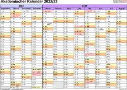 Vorlage 1: Akademischer Jahreskalender 2022/2023 im Querformat