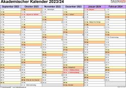 Vorlage 2: Akademischer Jahreskalender 2023/2024 im Querformat