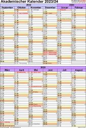 Vorlage 5: Akademischer Kalender 2023/2024 im Hochformat, 1 Seite, unterteilt in 6-Monats-Blöcke