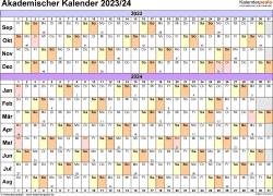 Vorlage 3: Akademischer Jahreskalender 2023/2024 im Querformat
