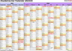 Vorlage 1: Akademischer Jahreskalender 2023/2024 im Querformat