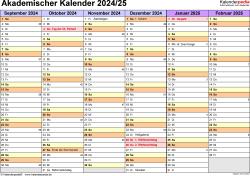 Vorlage 2: Akademischer Jahreskalender 2024/2025 im Querformat