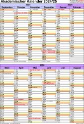 Vorlage 5: Akademischer Kalender 2024/2025 im Hochformat, 1 Seite, unterteilt in 6-Monats-Blöcke
