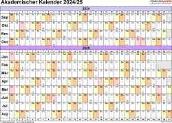 Vorlage 3: Akademischer Jahreskalender 2024/2025 im Querformat