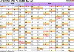 Vorlage 1: Akademischer Jahreskalender 2024/2025 im Querformat