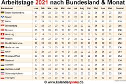 Arbeitstage Bayern 2021 Steuer